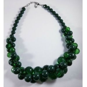 Green Multi Faceted Smooth Bead Cluster Necklace
